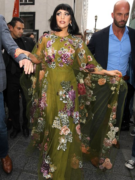 Lady Gaga wearing a floral dress