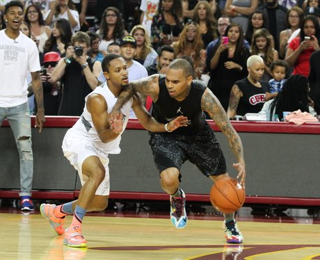 Chris Brown plays Basket Ball for charity