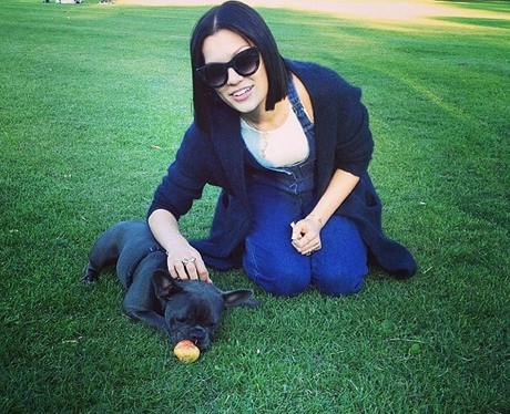 Jessie j with her dog in the park