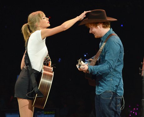 Ed Sheeran and Taylor Swift on stage