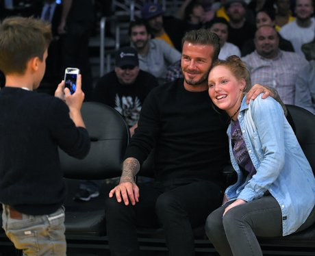 David Beckham poses with fan