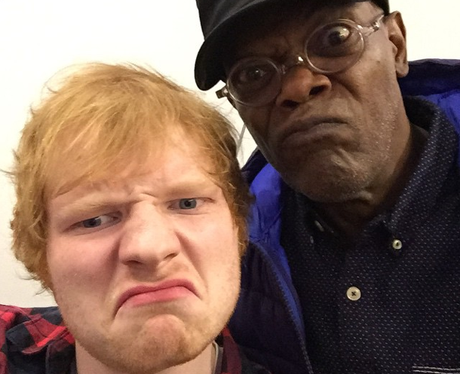 Ed Sheeran and Samuel L Jackson