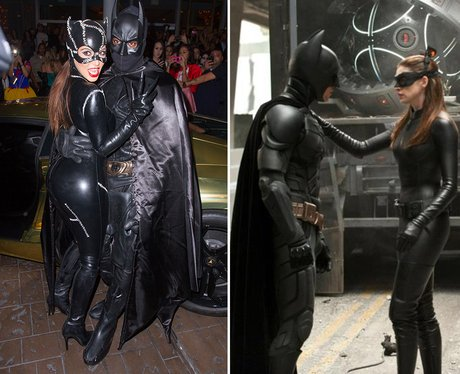 Kim Kardashian and Kanye West coordinated their costumes as Catwoman and Batman & Kim Kardashian and Kanye West coordinated their costumes as Catwoman ...