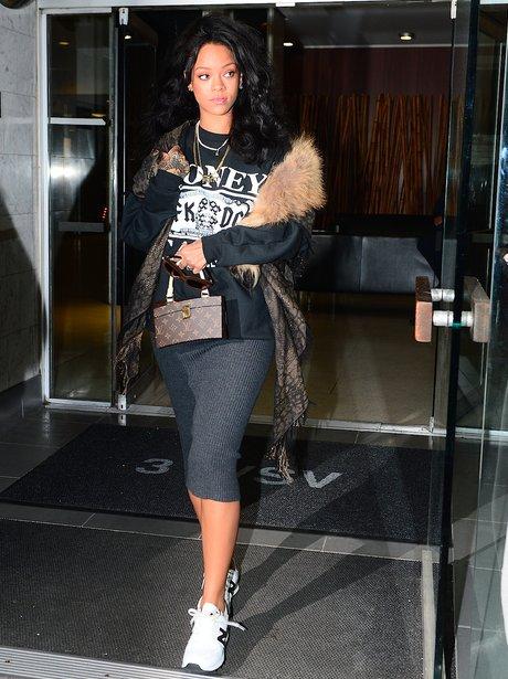 Rihanna wearing fur