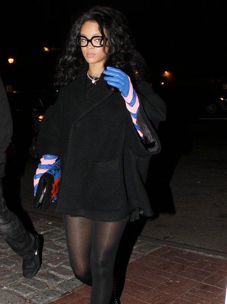 Rihanna wearing glasses in New York