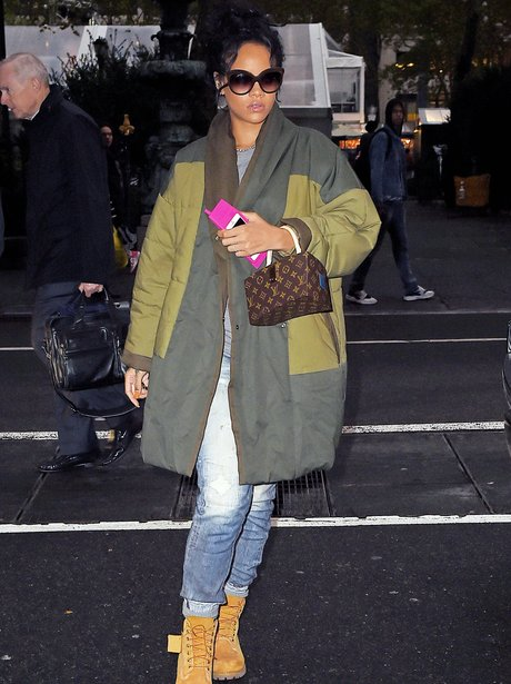Rihanna wearing a winter coat in New York