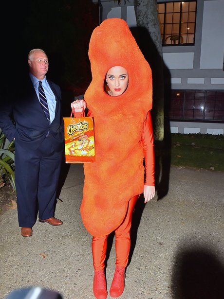 Katy Perry dresses as a cheeto for halloween
