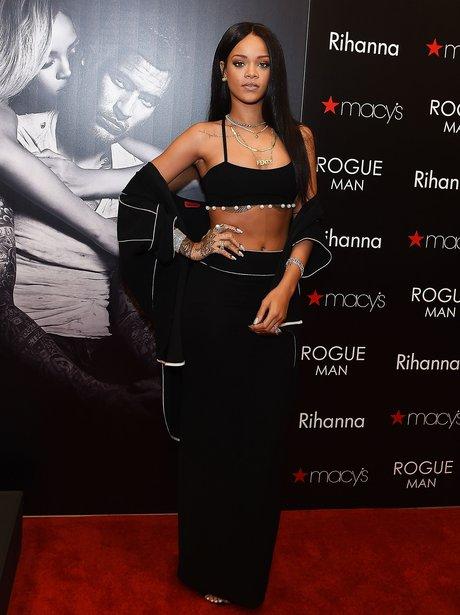 Rihanna wearing a crop top