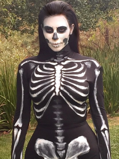 Kim Kardashian dressed as a skeleton