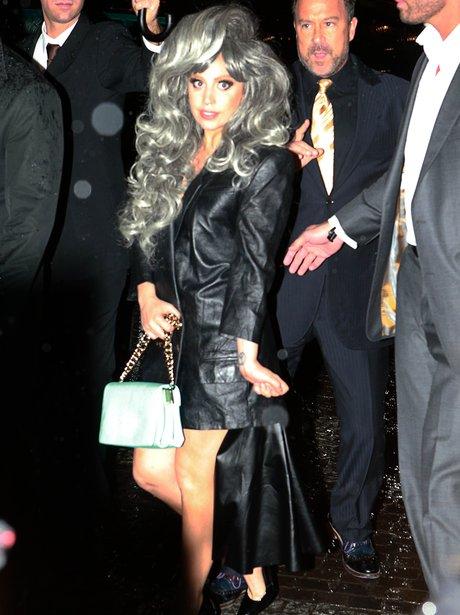 Lady Gaga wearing a grey wig