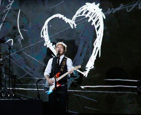 Ed sheeran performing at the Royal Variety