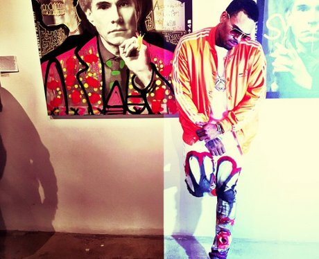 Chris Brown with painted jeans