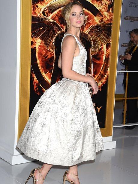 Jennifer Lawrence in a white dress
