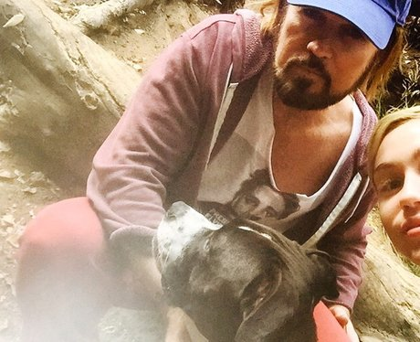 Miley and Billy Ray Cyrus seen on a Dog Hike