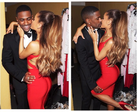 Big Sean and Ariana Grande kissing Instagram Pictu