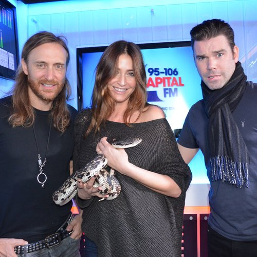 David Guetta with Dave Berry & Lisa Snowdon (and a snake)