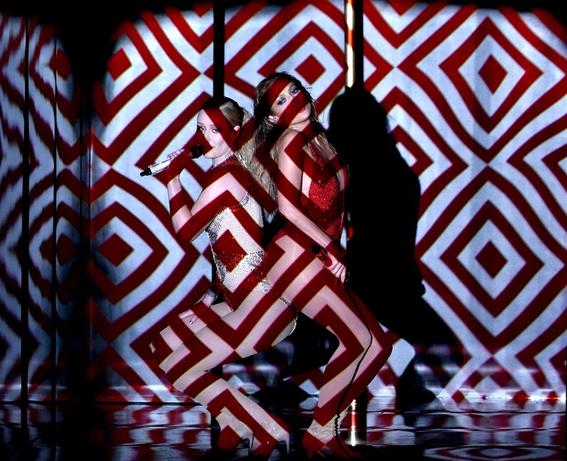 Iggy Azalea and Jennifer Lopez on stage American M