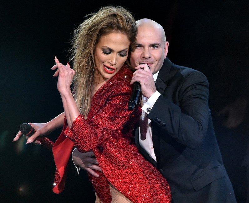 Jennifer Lopez and Pitbull on stage American Music