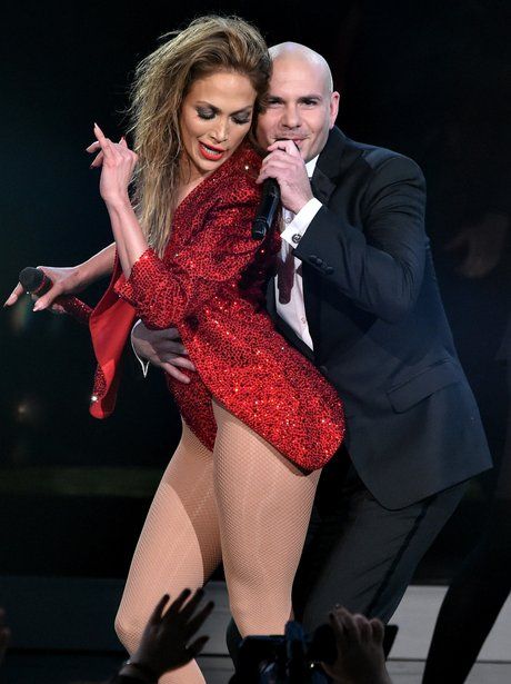 Jennifer Lopez and Pitbull on stage American Music