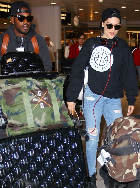 Jessie J and Luke James at the airport