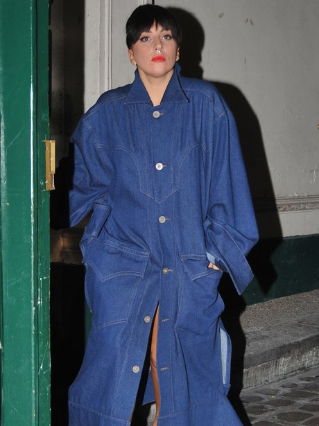 Lady Gaga wearing a long denim dress in Paris