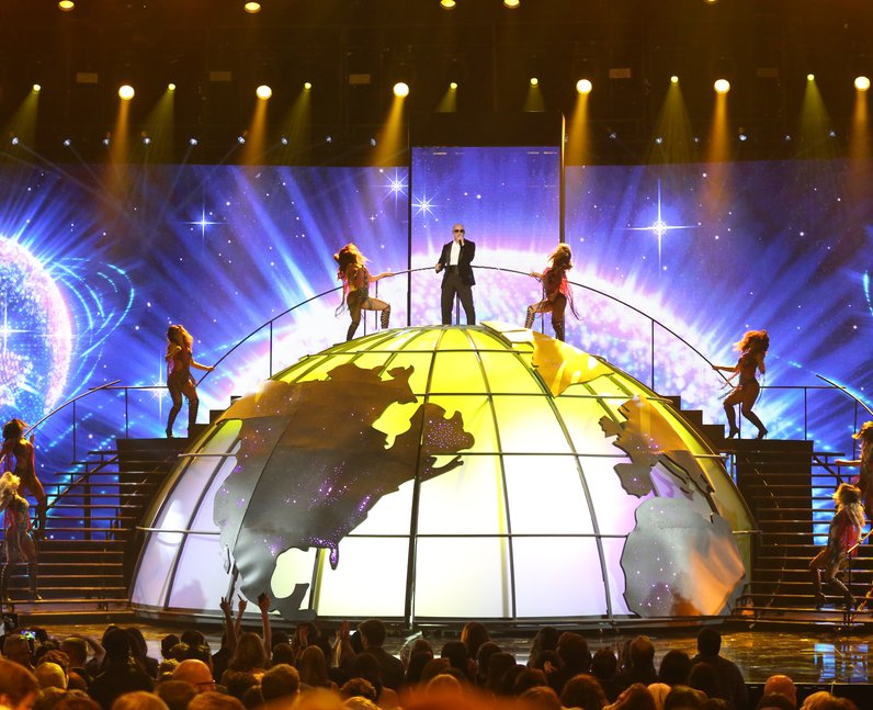Pitbull on stage during American Music Awards