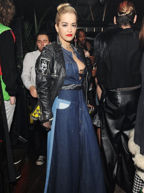 Rita Ora Denim Outfit