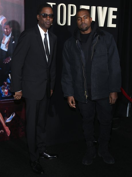 Chris Rock and Kanye West attend the 'Top Five' N