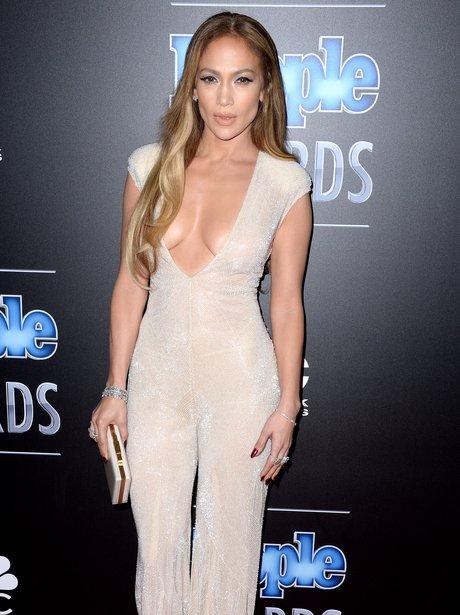 Jennifer Lopez  wearing a jumpsuit
