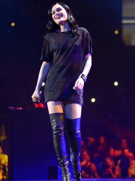 Jessie J in knee high boots