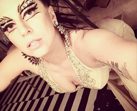Lady Gaga wearing bold make up
