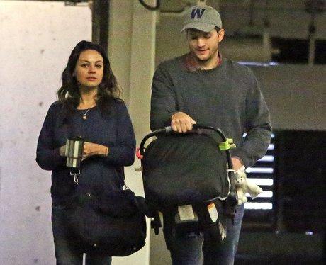 Mila Kunis and Ashton Kutcher with baby