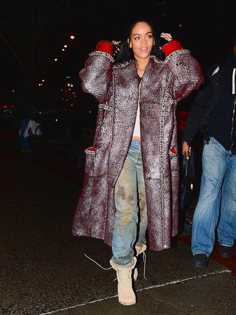 Rihanna wears big sheepskin coat