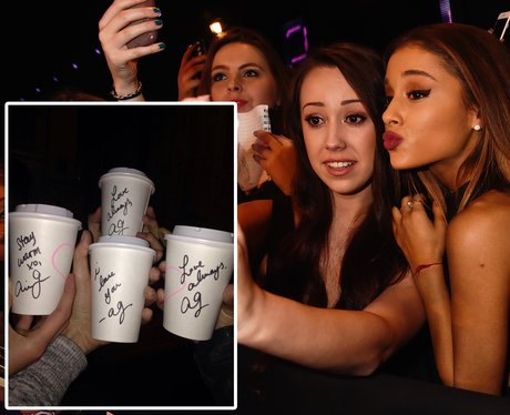 Ariana Grande buying fans hot drinks while they wa