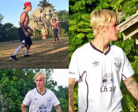 Justin Bieber wears Everton Football team shirt