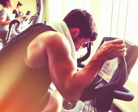 Nick Jonas in the gym