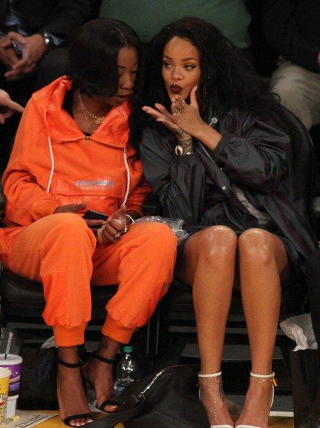 Rihanna attends Basket Ball Game