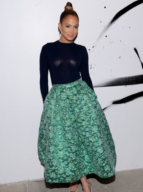 Jennifer Lopez in big green skirt