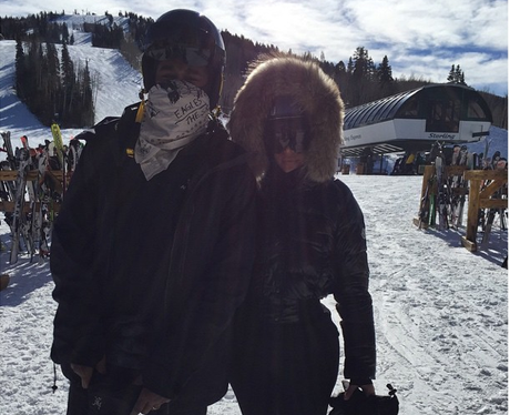 Kim and Kanye Skiing Instagram