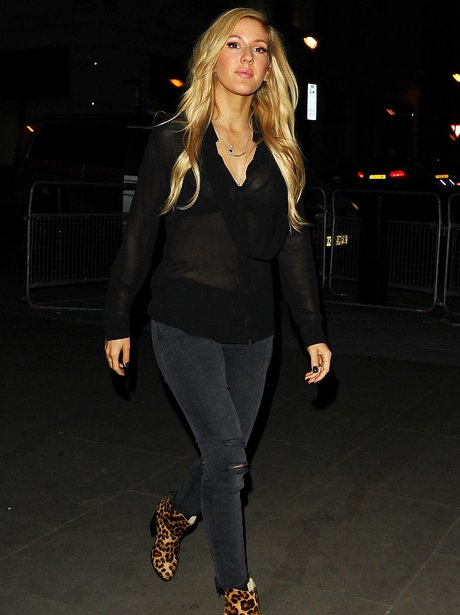 Ellie Goulding wearing leopard print boots