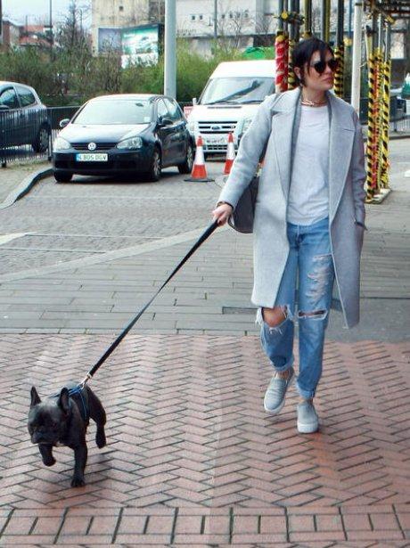 Jessie j walking her dog