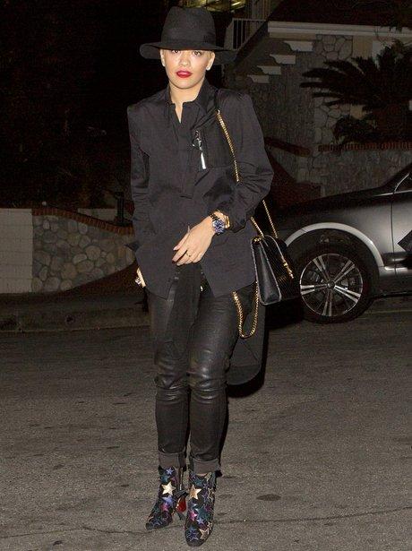 Rita Ora wearing star boots