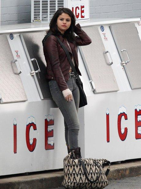 Selena Gomez on set