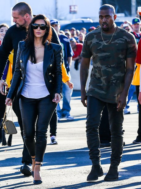 Kim Kardashian and Kanye West Super Bowl 2015