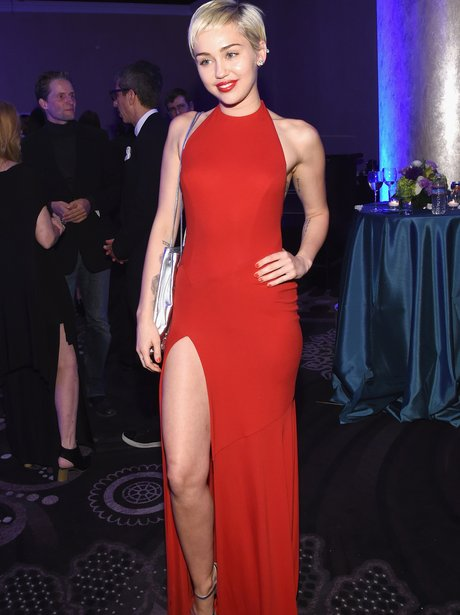 Miley Cyrus attends the Pre-GRAMMY party