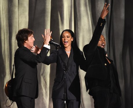 Rihanna, Kanye West and Sir Paul McCartney perform