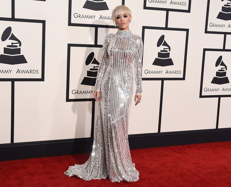 Rita Ora arrives at the Grammy Awards 2015