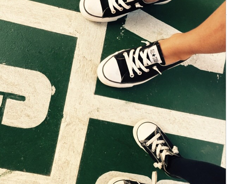 Beyonce and Blue wearing matching shoes
