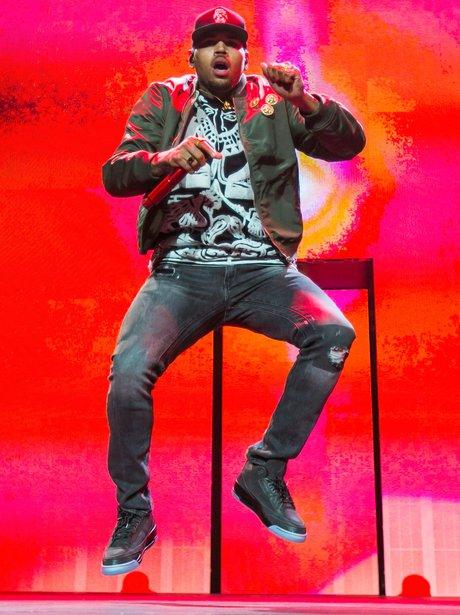 Chris Brown perfroms on his tour