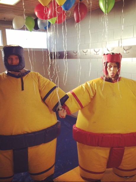 Ed Sheeran and Girlfriend Athena Sumo Outfits